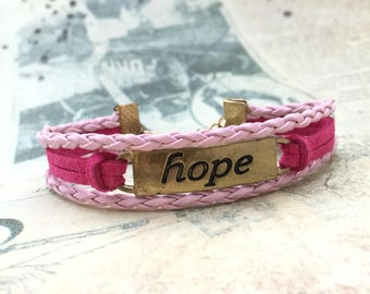Hope Bracelet, Friendship Bracelet, Breast Cancer Awareness, Handmade Bracelet