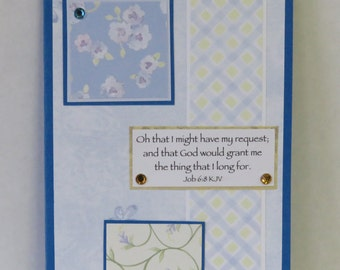 Blue Spring Flowers, Christian Prayer Journal, OOAK Notepad, KJV Scripture, Handmade Notebook.