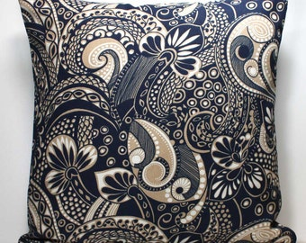 16 x 16 Inch OR 18 x 18 inch Decorative Throw Pillow Cover - Tan and Navy Blue Paisley - Invisible Zipper Closure - Fabric Both Sides