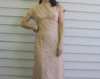 Lace Cocktail Dress Party 1960s 60s Vintage XS