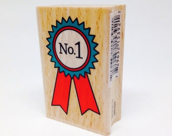 Number 1 First Place Ribbon Winner Rubber Stamp, Wood Block Stamp by Ann-ticipations, Whimsical, 2.75 inches x 1, New