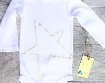 Star - Gold - Kids - Children - Baby - Toddler - Onesie - Long Sleeve