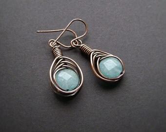 Copper Earrings, Wire Wrapped, Copper Jewelry, Boho Chic, Wire Herringbone, Gemstone Jewelry, Aqua Blue, Handmade Jewelry, Blue Jade