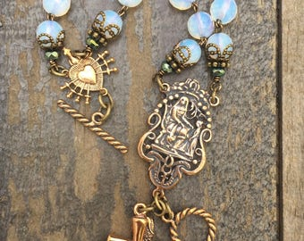 Natural Opalites and Aqua with Garnet Crystal Bracelet