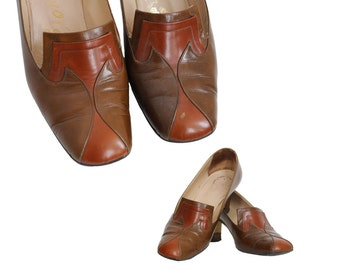 60s Two Tone Pilgrim Pumps | 37.5 US 7 to 7.5 | Brown Walking Shoes