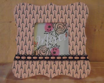 Eiffel Tower French Decoupaged Picture Frame