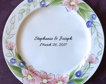 Unique Wedding Guest Book Alternative Wedding Plate personalized guestbook Signature Plate Guest Book Custom Guest Book Platter Floral