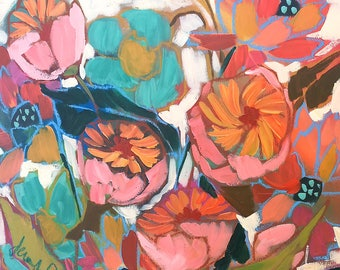"""Pink and Blue Peonies 16 x 16"""""""