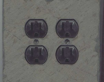 Decorative Slate Double Quad Outlet Duplex Socket Cover Combo Switchplate Light Wall Plate DOC