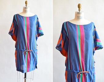 Vintage ETNO striped cotton tunic dress