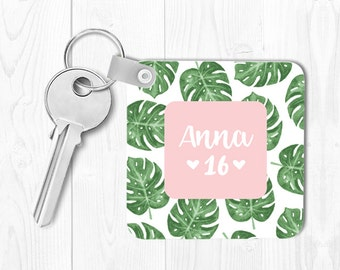 Sweet 16 Keychain Sweet 16 Gift for Sweet 16 Birthday Gift Monogrammed Key Chain Personalized Keychain Leaves Keychain Custom Keychain Pink
