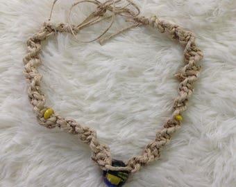 Handmade with Love Hemp Knot Knotted Glass Bead Choker Necklace OSFA Tie Closure