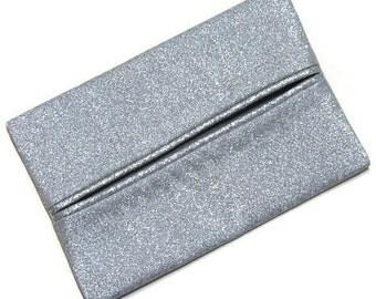 Wedding, Bridal, Bride's Travel Tissue Holder, Silver, Glitter, Travel Tissue Cozy, Pocket Tissue Holder