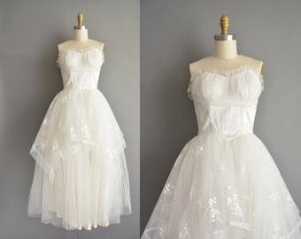 50s vintage white strapless wedding dress. vintage bridal gown. vintage 1950s dress