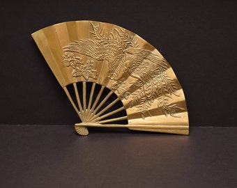 Vintage Brass Wall Fan / Asian / Wall Decoration / Chinese / Dragon / Oriental