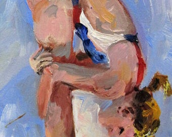 The perfect Dive swimmer figurative oil painting Art by Delilah