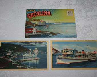 Vintage 1930s Fold Up Packet of 18 Photos of Santa Catalina California PLUS 2 Extra Postacards