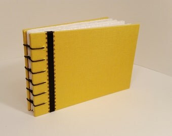 Yellow & Black Cloth Hardcover Coptic Bound Journal/Sketchbook/Bulletjournal/Notebook with blank pages