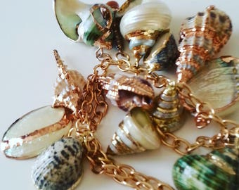 Gorgeous, SHELL, feature necklace, double chain, necklace,Natural, cream, pearl, sea green, gold, rose gold plated, by NewellsJewels on etsy