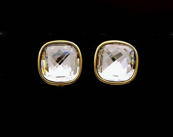 wedding Jewelry bridal bridesmaid gift prom party square cushion cut gold stud earrings Swarovski clear white square crystal rhinestone post