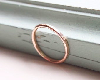 Rose gold fill stacking ring, 1.5mm thin rose gold ring, stacking ring, delicate jewellery, dainty ring, hammered ring