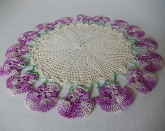Vintage Doily Cottage Violets Handmade Crochet Home Decor Purple Lilac Ombre Flowers Romantic Country Living