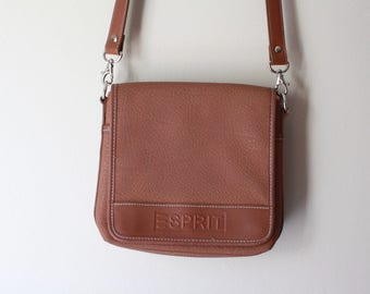 SALE 90's Vintage ESPRIT Brown Leather Satchel Messenger Bag