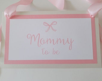 Baby Shower Mommy To Be Chair Sign Three Layered Luxury with Bows