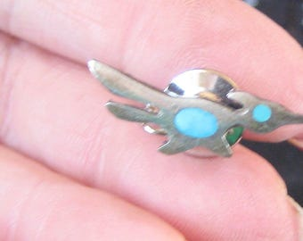 Great Vintage Southwest Sterling Silver And Turquoise Tie Tac RoadRunner
