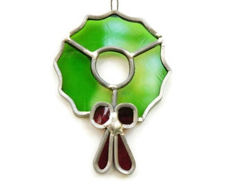 Vintage 70s Stained Glass Christmas Ornament