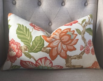 "Timothy Corrigan for Schumacher - Huntington Gardens in coral - 12""X20"" - Pattern on the front"
