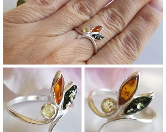 Amber Ring - Leaf Silver Ring - Baltic Amber ring - Amber Jewelry - Multicolor Amber ring - Genuine Amber Ring - Real Amber ring