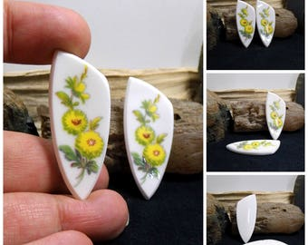 Pair Matched China Free Form Hand Cut Cabochons 47 mm