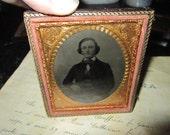 antique cased photo -1/2 case - man, gold frame - civil war era, late 1800s