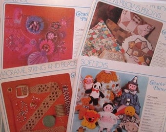 8 vintage project and pattern booklets - CREATIVE PATTERNS - soft dolls, embroidery, pillows, collage, macrame, upholstery - circa 1970s