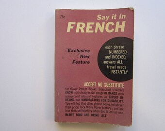 vintage book - FRENCH Phrase Book for Travelers - Dover - English to French translation