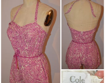 FEMME FATALE 1950s Designer 2 pc Cole of California Must Have Pink Halter Sweet heart Bust Swimsuit Bathing Suit Tiki Oasis VLV  M L