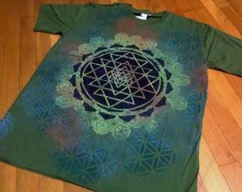 L Sri Yantra Mandala T-Shirt Handpainted Sacred Geometry Tee w/  Sri Yantra, Flower of Life, Honeycomb, avocado green