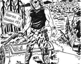 Escape from America 2016 - Snake Plisskin Ink Illustration