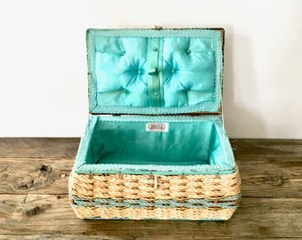 Vintage Wicker Sewing Basket with turquoise Satin interior