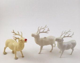 Vintage Celluloid Reindeer Trio II