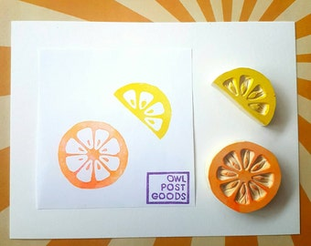 Fruity Citrus Rubber Stamp - full or half citrus, or 2 piece set - lemon, lime, grapefruit, orange, fruit
