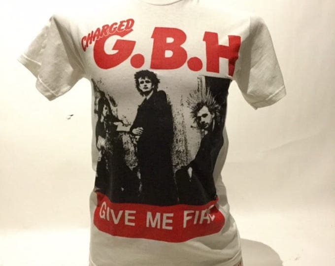 Vintage Charged G.B.H.Give Me Fire 80's Tee Shirt (os-ts-91)