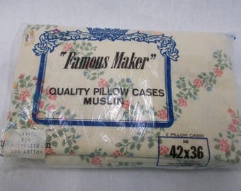 Vintage Famous Maker Flannel Muslin Pillow Cases New In Package, Pair Floral Pillow Cases