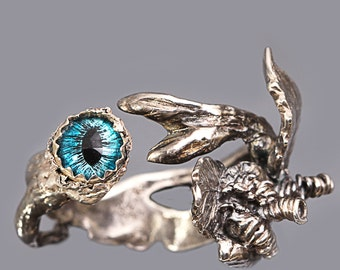 Tree Branch Ring Evil Eye Ring Dragon Eye Ring Fine Silver Ring