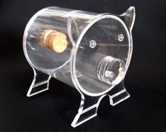 Vintage Lucite Piggy Bank MCM Retro Clear Acrylic with Cork Great Shape Mid Century Mod Home Decor