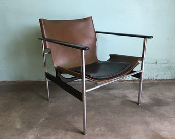 MID CENTURY MODERN Knoll Pollock Chrome and Leather Sling Chair  (Los Angeles)