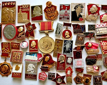 Soviet Propaganda Badges / Pins - Set of 63 - Lenin - Communism - 1970s - from Russia / USSR / Soviet Union