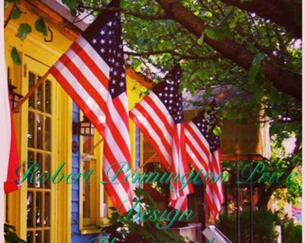 """American Flag Photography /Blue Moon Restaurant  / Fine Art Photography / Happy Memorial Day / 8"""" X 8"""""""