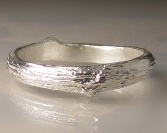 Men's Branch Ring in Sterling Silver, Sterling Silver Men's Wedding Band